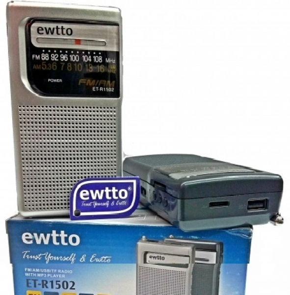 "RADIO ""EWTTO"" AM-FM USB-SD, BATERIA RECARGABLE"